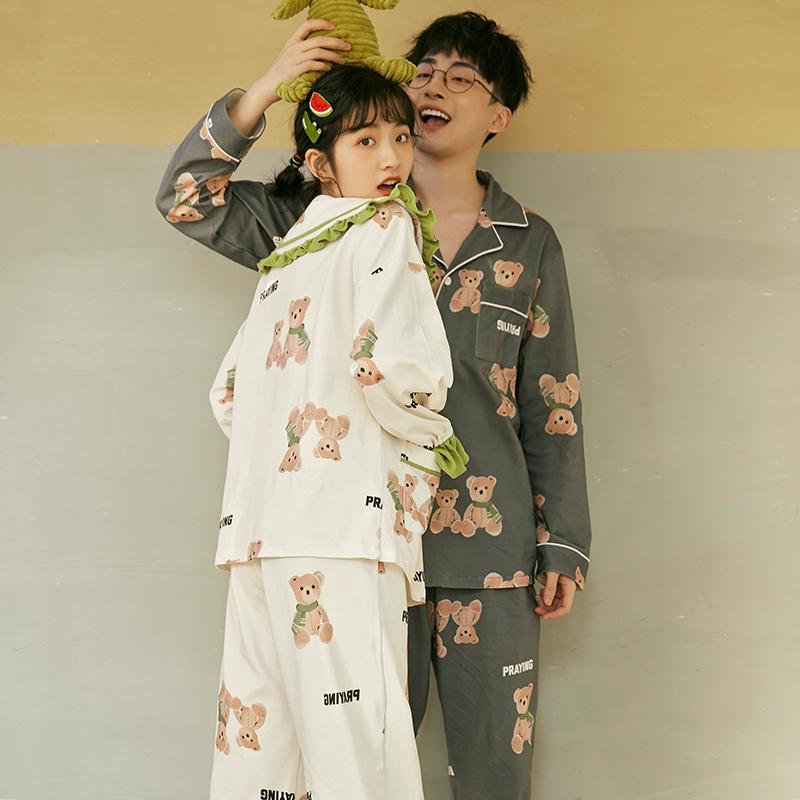情侣睡衣女春秋冬季纯棉长袖两件套装薄款男士学生夏可外穿家居服图片