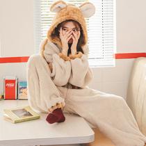睡衣女春秋冬季珊瑚绒可爱连体加厚法兰绒学生卡通动漫套装家居服