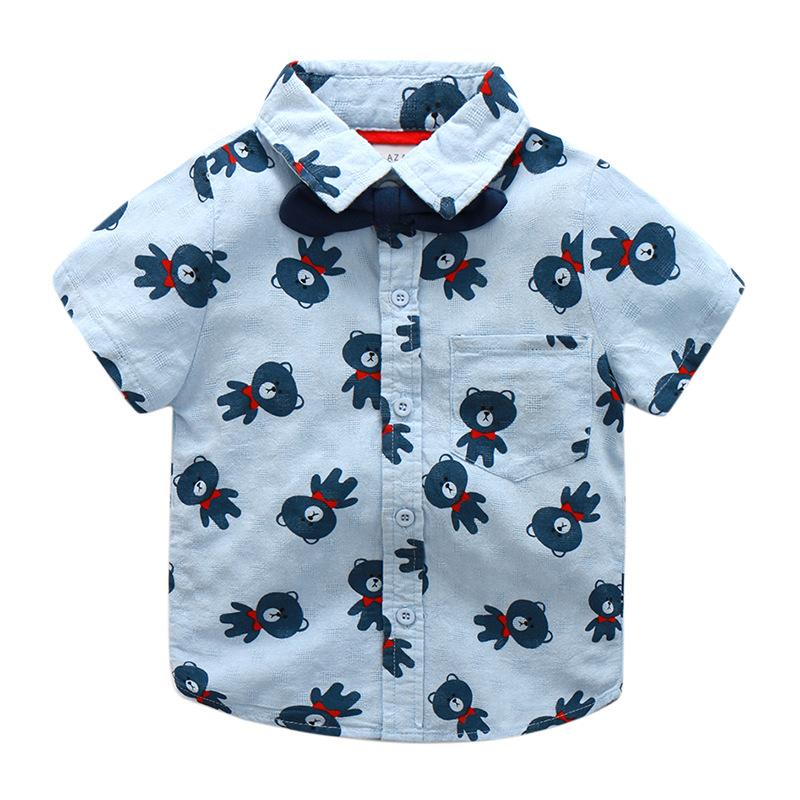 儿童领结短袖翻领衬衫2017夏新款品牌童装男小童宝宝印花纯棉衬衣