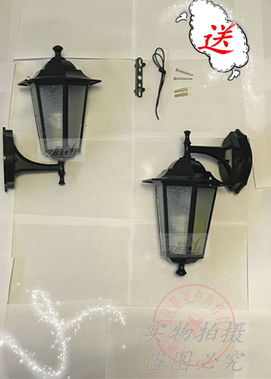 小六角壁燈戶外燈具室外牆燈飾歐式復古陽臺防水仿古led古銅黑色
