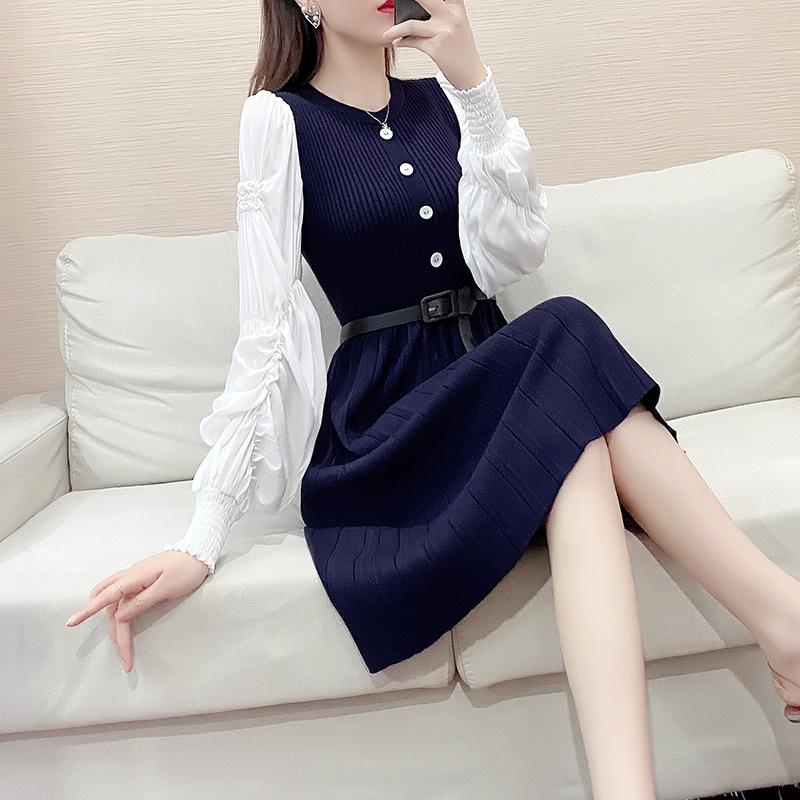 2021 spring fashion new season special price Chiffon sleeve dress waist A-line skirt long sleeve sweater knitted skirt