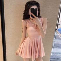 直播衣服 女主播性感纽扣抹胸蕾丝边拼接气质修身打底背心连衣裙