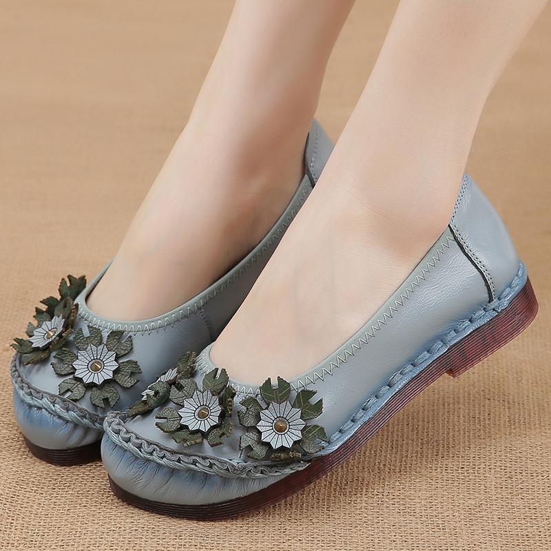 民族风妈妈鞋软底舒适复古真皮鞋子图片