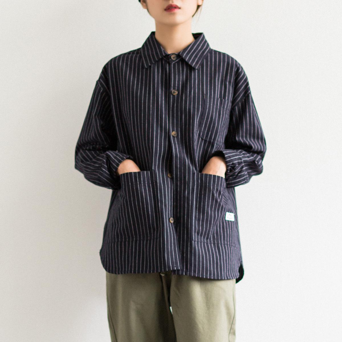 EpicSocotra18/AW美式多口袋條紋長袖襯衫男女同款工裝襯衣薄外套