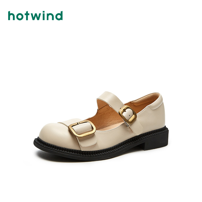Hot air 2021 spring new female round head word buckle school wind single shoes shallow mouth fashion JK shoes H02W1152