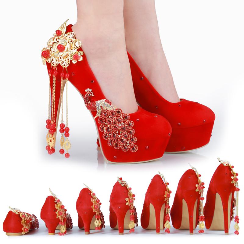 红色超高跟新款水晶结婚旗袍新娘鞋11月26日最新优惠