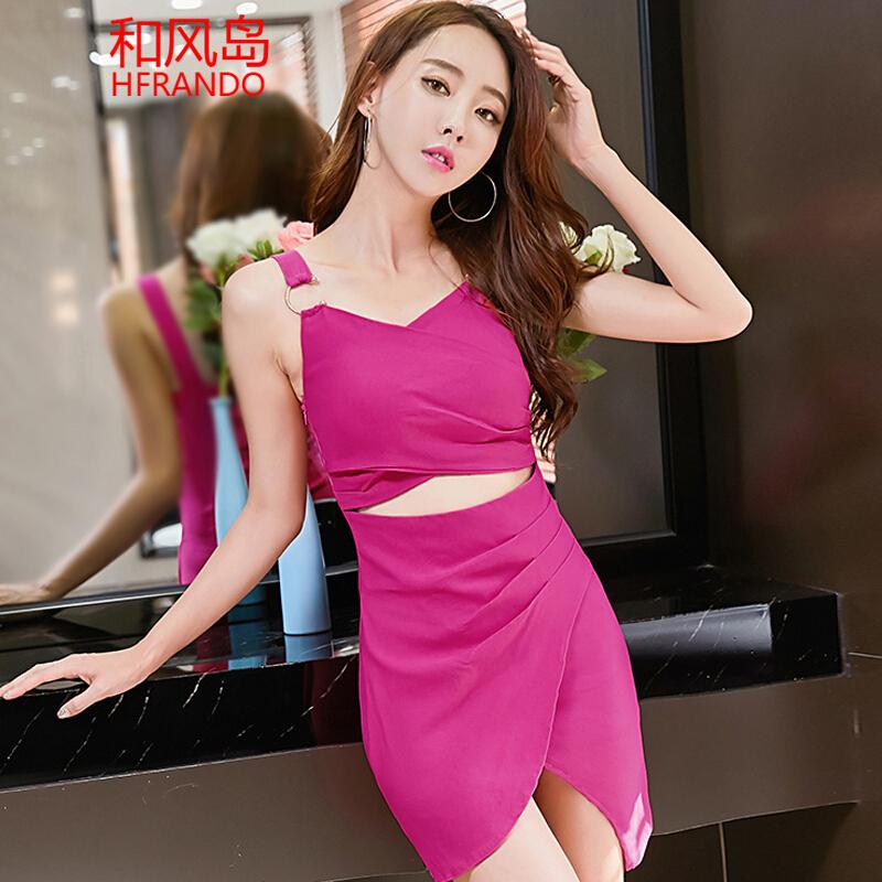 和风岛 性感连衣裙夜店女装2017夏季新款韩版修身镂空不规则吊带