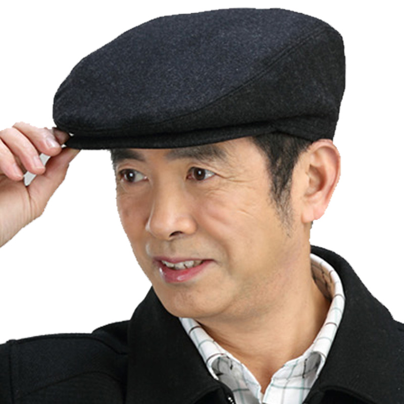 Classic old style workers hat middle-aged and old peoples thin cap wool fathers hat autumn winter grandfather