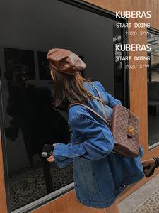 KUBERAS/复古炸街阔版垫肩直角肩中长款牛仔外套女秋装上衣ins潮