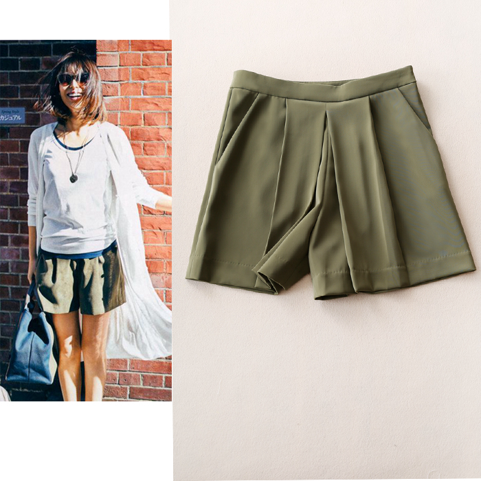 版型超赞 垂坠质感立体褶裥 显瘦遮肉显腰细高腰休闲短裤阔腿裤女