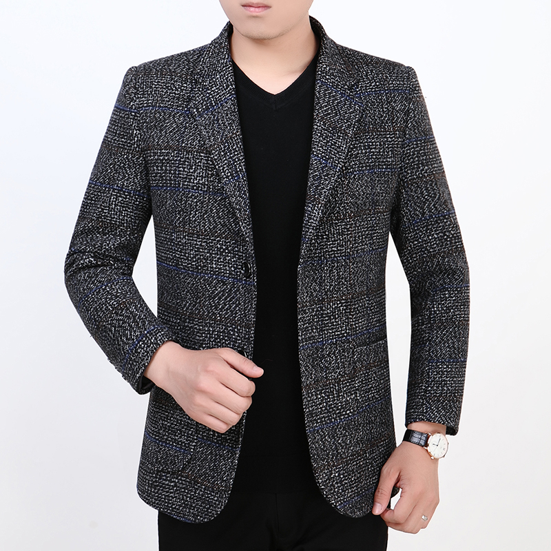 Red bean casual suit mens spring new middle aged mens business suit collar jacket Plaid Jacket urban Bianxi