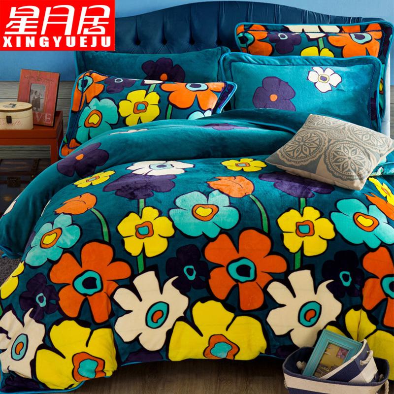 Коралл четыре части утолщённый с дополнительным слоем пуха зима лист одеяло кровать статьи кристалл кашемир falaise фланель