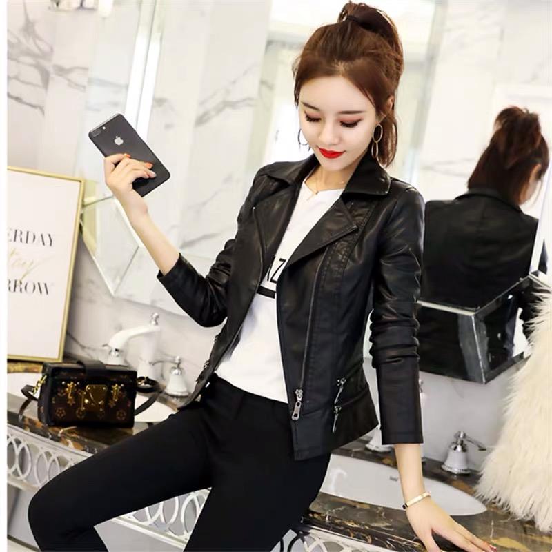 Small leather womens coat short 2021 spring new Korean version Slim Fit Black exotic locomotive PU leather jacket