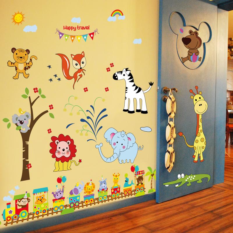 Ребенок ребенок комната стена декоративный наклейки для стен живопись мальчик спальня мультфильм животных переполнение стена живопись наклейки милый животное
