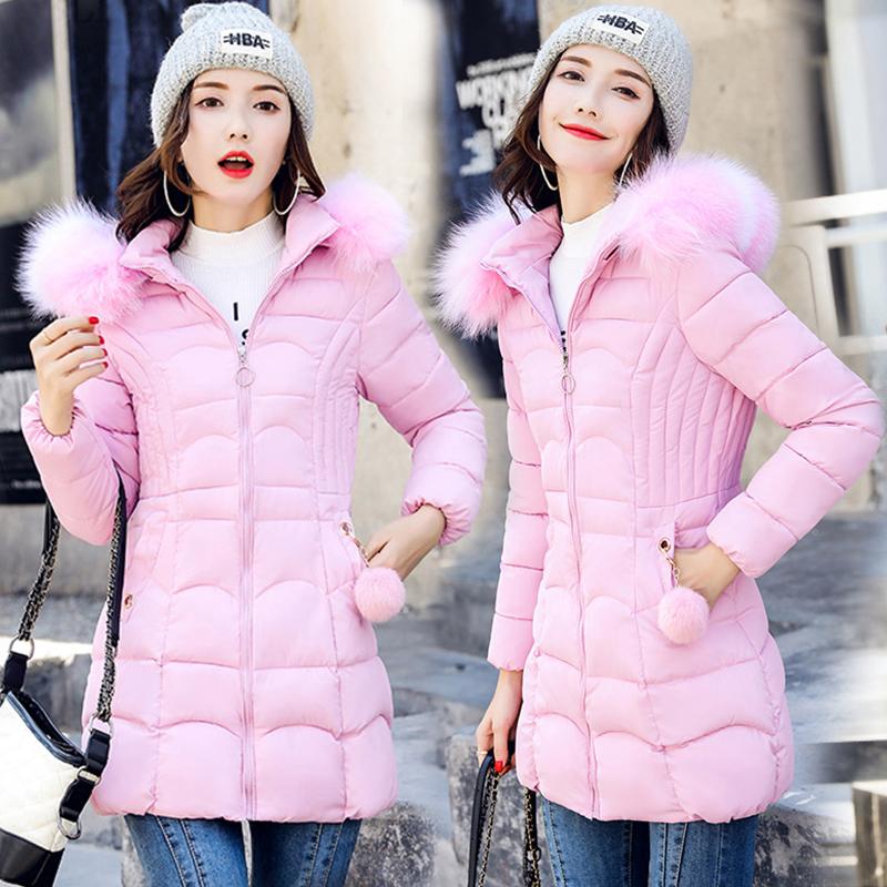 實拍大毛領羽絨棉衣女2021冬季韓版中長款加厚保暖棉襖棉服外套潮