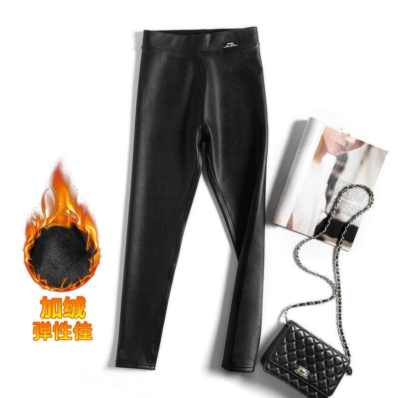 加绒加厚冬装修身显瘦小脚黑色哑光弹力新款长裤皮裤包邮魔术裤
