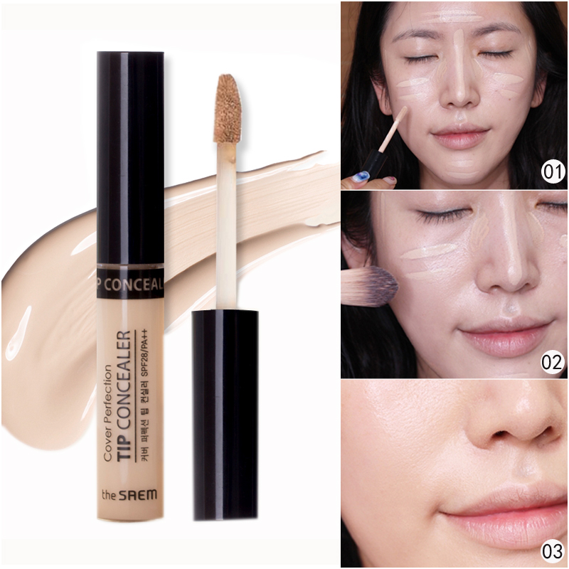 The SAEM has a fresh Concealer liquid, nude make-up, potion and eye foundation, and a long black eye socket.