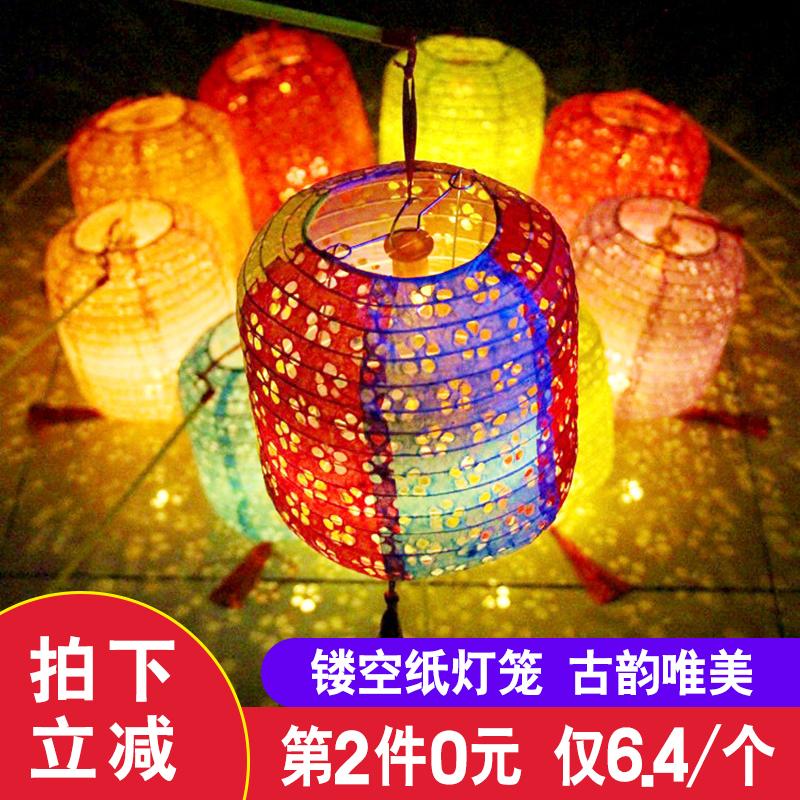 古風紙燈籠中國風折疊掛飾裝飾手工中式吊燈鏤空發光漢服拍攝道具