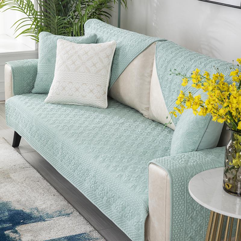 北欧简约沙发垫四季通用纯棉防滑时尚现代防滑套罩靠背巾皮坐垫子