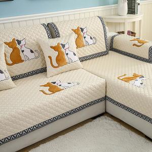 防滑沙发垫布艺四季通用北欧坐垫子夏季简约现代皮沙发巾罩套盖布