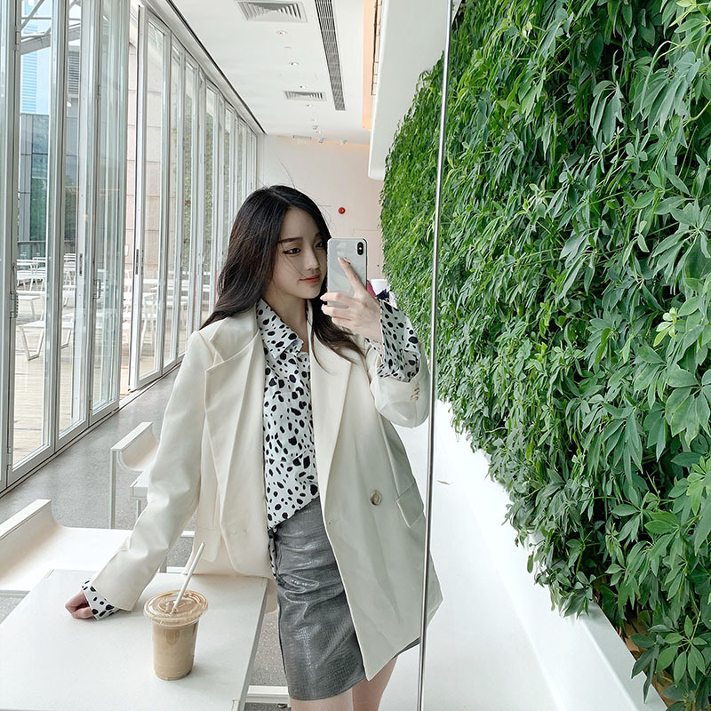 2021 new early autumn suit coat loose medium length Top + Fashion spotted shirt real two-piece set