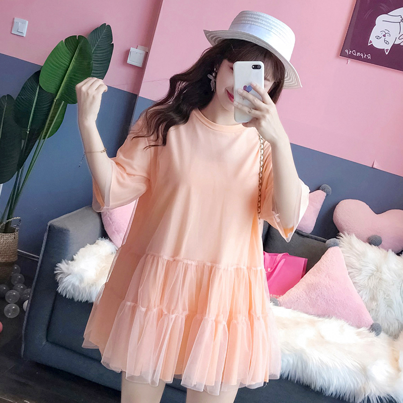 糖果色大码遮肚减龄很仙的网纱t恤短袖连衣裙子仙女桔梗女初恋裙
