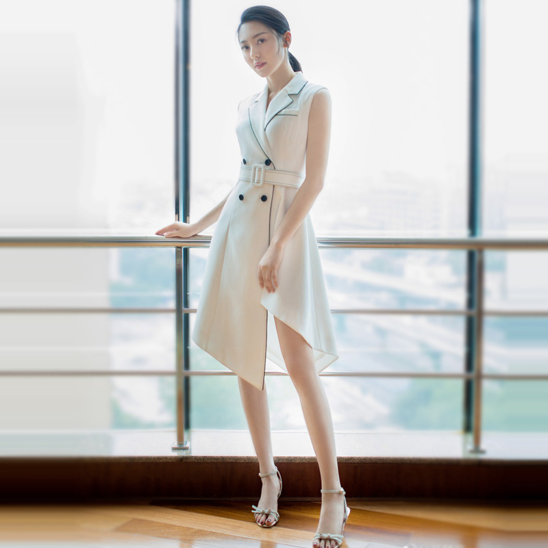 欧洲站2018年夏季明星走秀新款高端女装时尚优雅白色修身连衣裙女