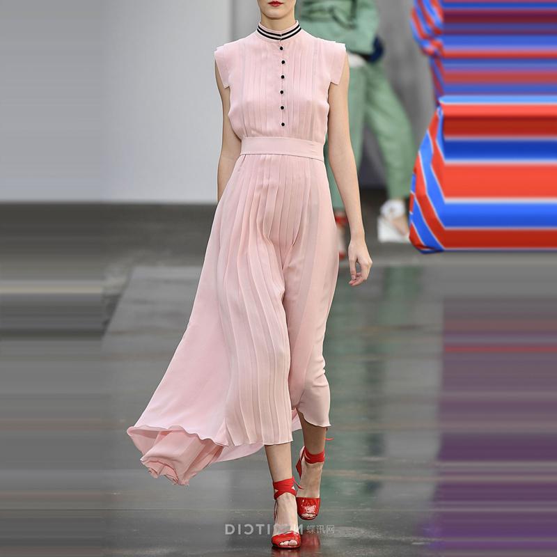意大利2018年夏季时尚明星走秀新款高端女装大牌修身长裙女连衣裙