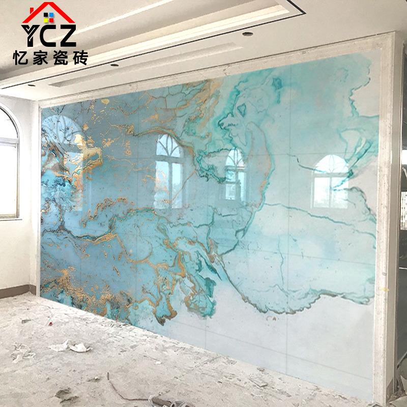 现代简约瓷砖背景墙客厅抽象艺术图案定制背景墙微晶石电视背景墙