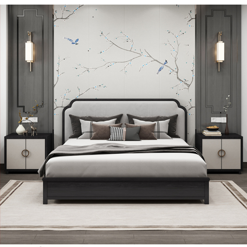 New Chinese solid wood bed modern simple light luxury master bedroom furniture 1.8m wedding model Hotel B & B in stock