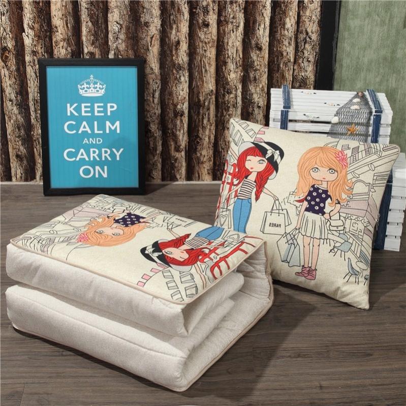 办公室午睡多功能可抱枕被子腰靠枕卡通保暖靠垫一对拍2抱枕被子