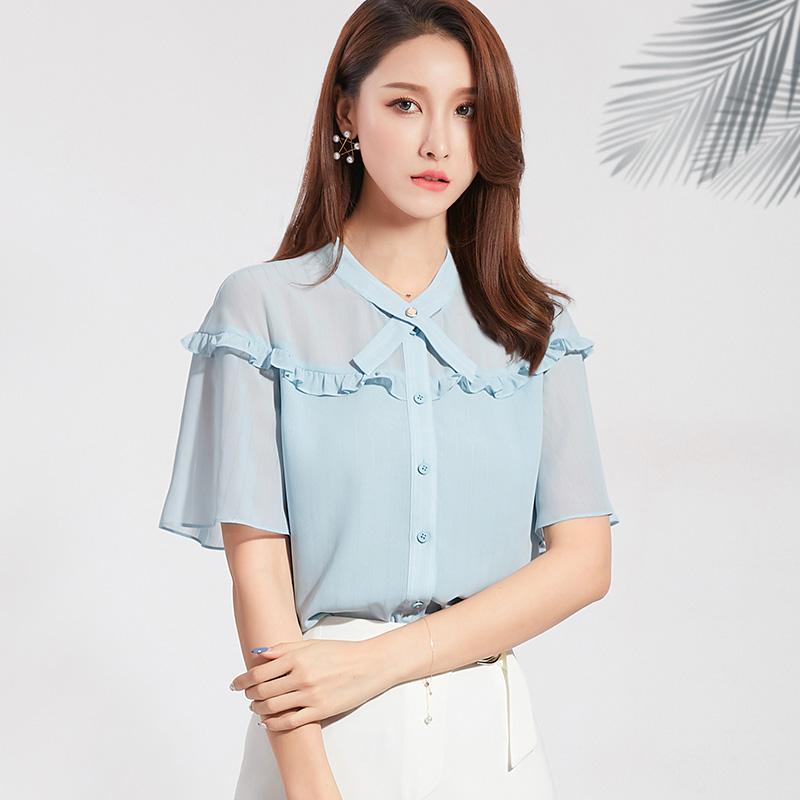 2020 summer shirt womens Korean chiffon shirt fashion shirt womens foreign style bow loose foreign style short sleeve top