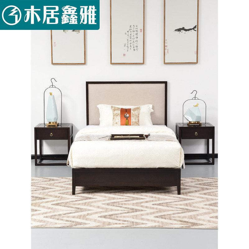New Chinese style solid wood bed 1.8m 1.5m modern double bed hotel furniture