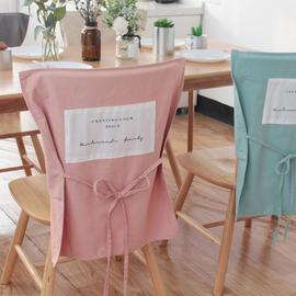 北欧简约办公室酒店餐厅纯棉餐椅套ins日式家用纯色椅背套保护罩图片
