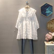 2019冬季新款韩版时尚翻领大码蕾丝连衣裙高腰气质中长款复古裙子