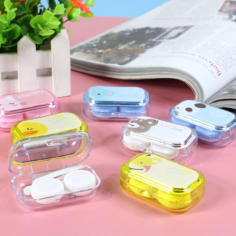 Мультики хитрость очки портативный компактный портативный близорукость спутник коробка прекрасный зрачок двойной коробка медсестра коробка цвет в соответствии с ситуацией