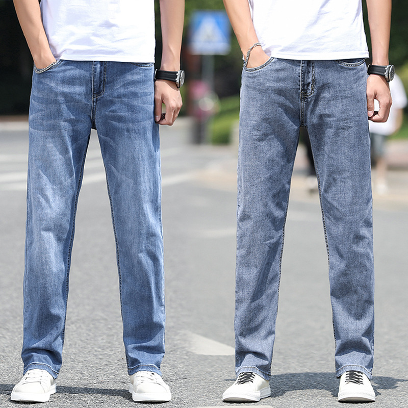 Loose size mens jeans business high waist elastic wide leg straight pants fat man oversized dad pants