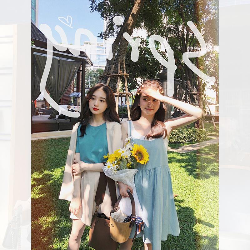 网红新款定制  满满少女心夏日果冻 甜甜吊带裙2019夏装 有套装