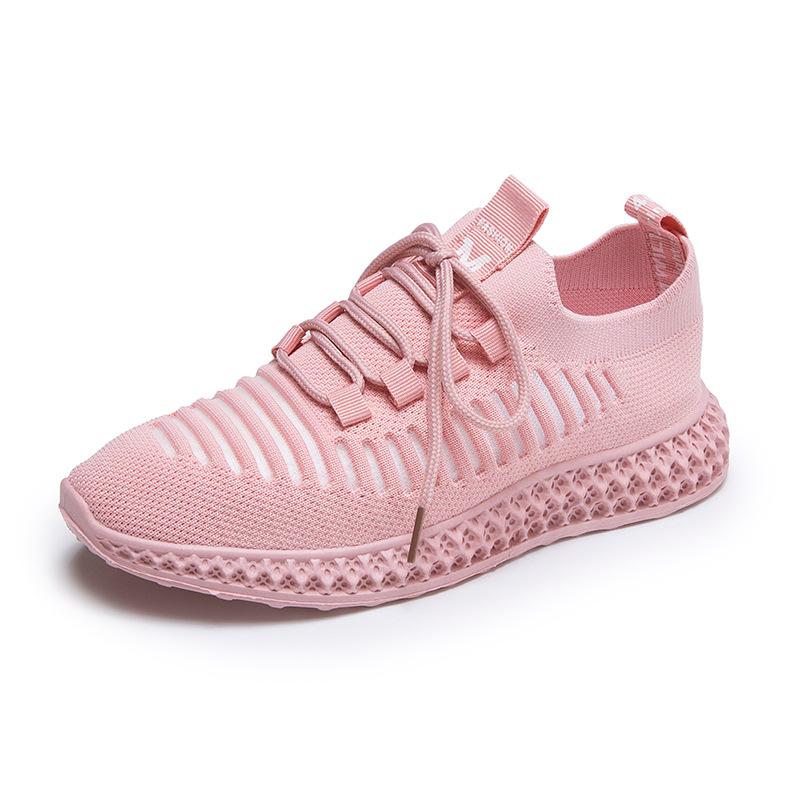 透气飞织休闲运动鞋女 轻便镂空纯色网鞋2020夏季新品耐磨跑步鞋