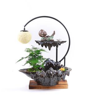 中式流水擺件客廳家居招財裝飾玄關辦公室工藝加濕器開業喬遷禮品