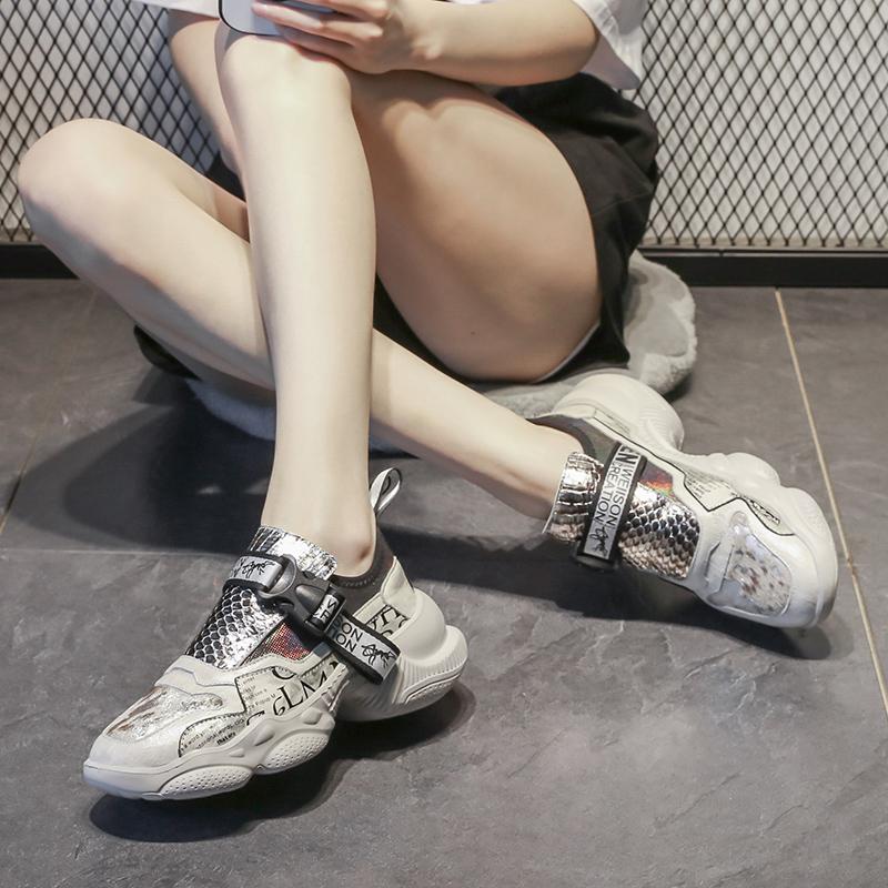 欧洲站老爹鞋女ins潮货2021春季新款女鞋真皮百搭厚底增高运动鞋