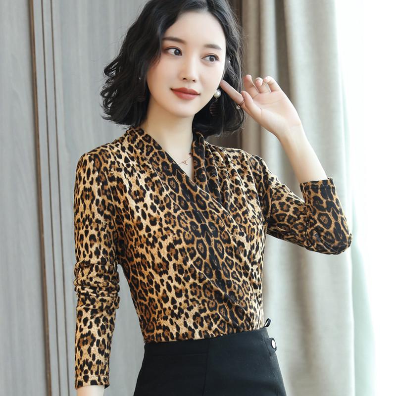 秋季新款时尚性感豹纹T恤打底衫女大码交叉V领长袖显瘦上衣小衫潮