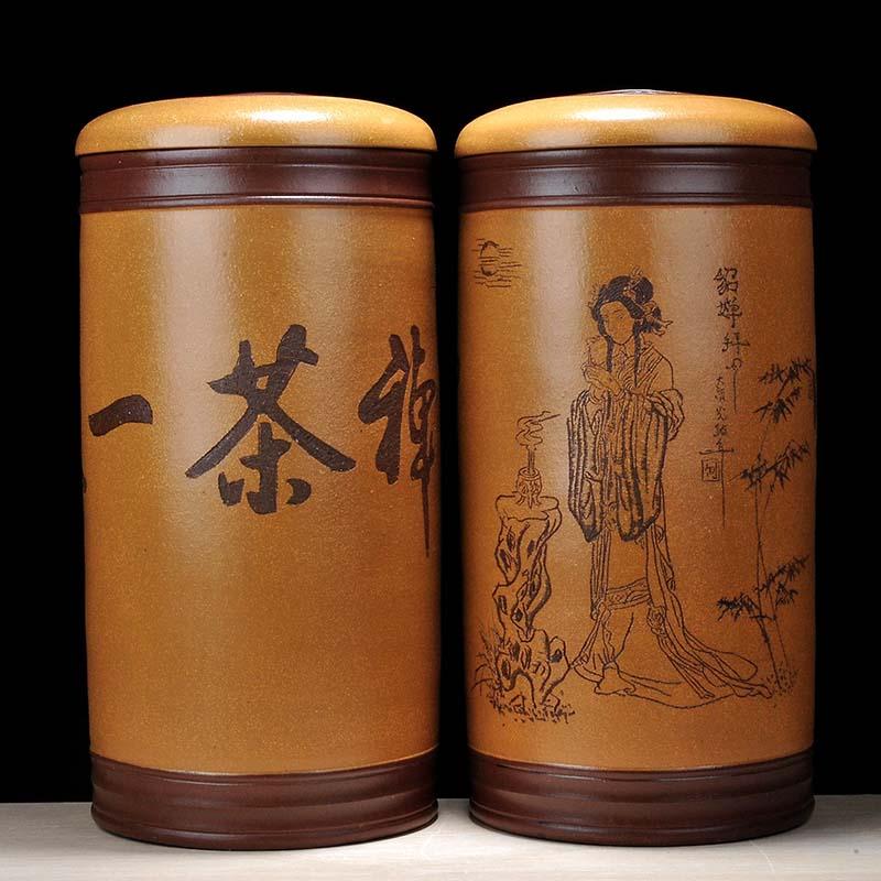 茗露宜兴紫砂茶叶罐貂蝉拜月18饼罐茶缸大号茶存茶罐普洱罐白茶罐