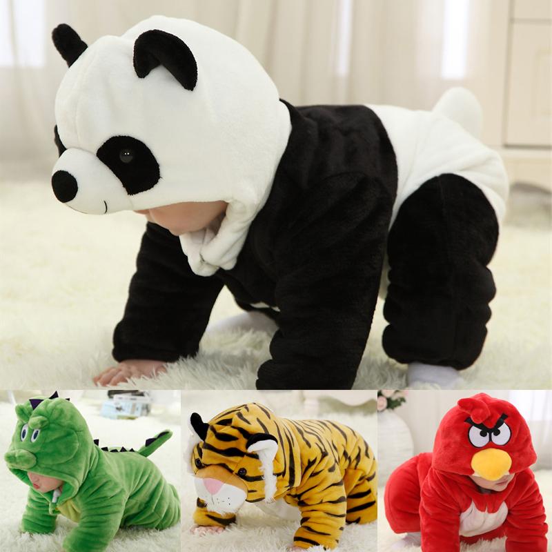 冬季婴儿连体衣男女儿童熊猫动物造型哈衣小孩爬服宝宝衣服1-3岁2
