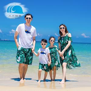 三只鲸鱼特价一家三口四口全家装母女亲子沙滩裙父子男儿童沙滩裤