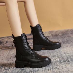 上海奥特莱斯outlets清仓撤柜马丁靴子厚底英伦风女短靴系带单靴