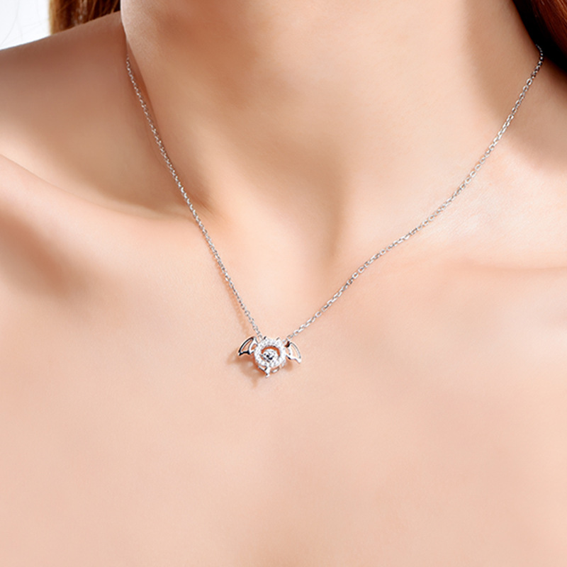 Silver Necklace female pure silver clavicle chain ins simple temperament angel devil pendant tide net red beating heart