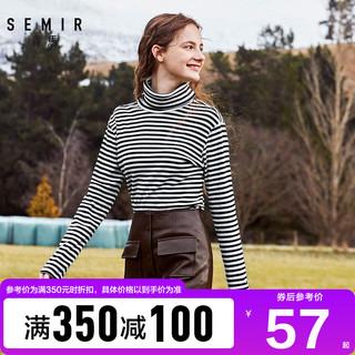 森马长袖t恤女春秋高领条纹修身显瘦上衣韩版女装体恤内搭打底衫