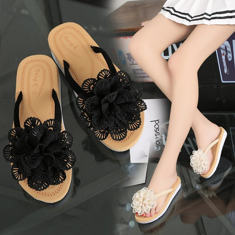 Summer new style flip flop with flowers female clip foot slipper anti slip flat bottom cool mop red black flower special price package