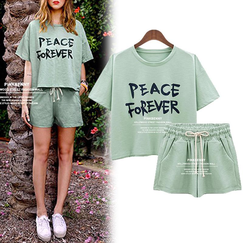 学生少女韩版女装时尚气质短裤夏天衣服潮夏季运动休闲套装两件套